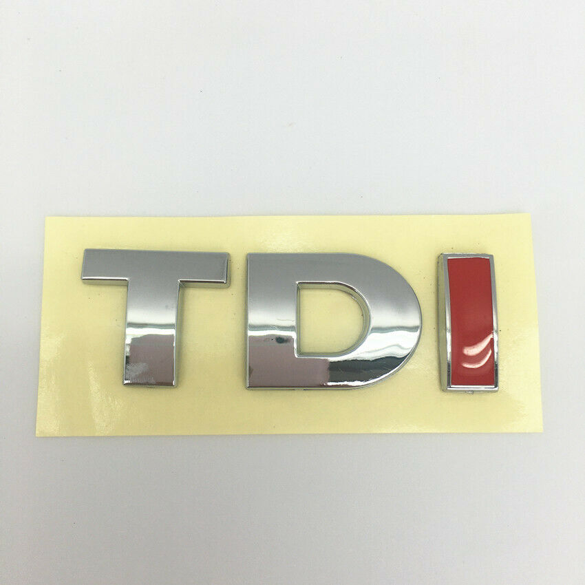 """Red Chrome for Volkswagen /""""TDI/"""" Trunk Lid Fender Emblem Badge Sticker Logo Decal"""