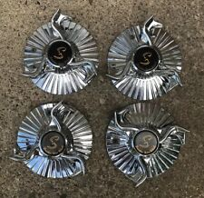 4 Set Vintage Speedster Wire Wheels Center Cap With Pat Pending Luxor Wire Chrome
