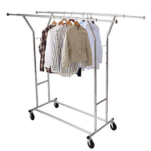 Image Is Loading Commercial Grade Clothing Rolling Double Garment Rack  Hanger