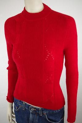 Razionale Donna Pullover 80er True Vintage Nos 80s Fibre Di Qualità Maglione Tg. S Rosso Dralon-