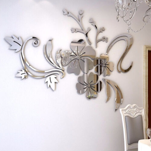 Flower DIY Removable Home Room Wall Mirror Sticker Art Vinyl Mural Decor Decal