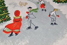 A CHRISTMAS VILLAGE WITH ICE SKATERS ON THE POND! VTG GERMAN PRINT TABLECLOTH