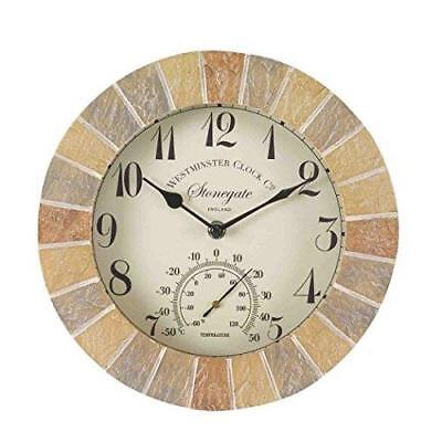 Al Di Fuori-in Stonegate Arenaria 10 In (ca. 25.40 Cm) Orologio Da Parete E Termometro (5065030)- Funzionalità Eccezionali