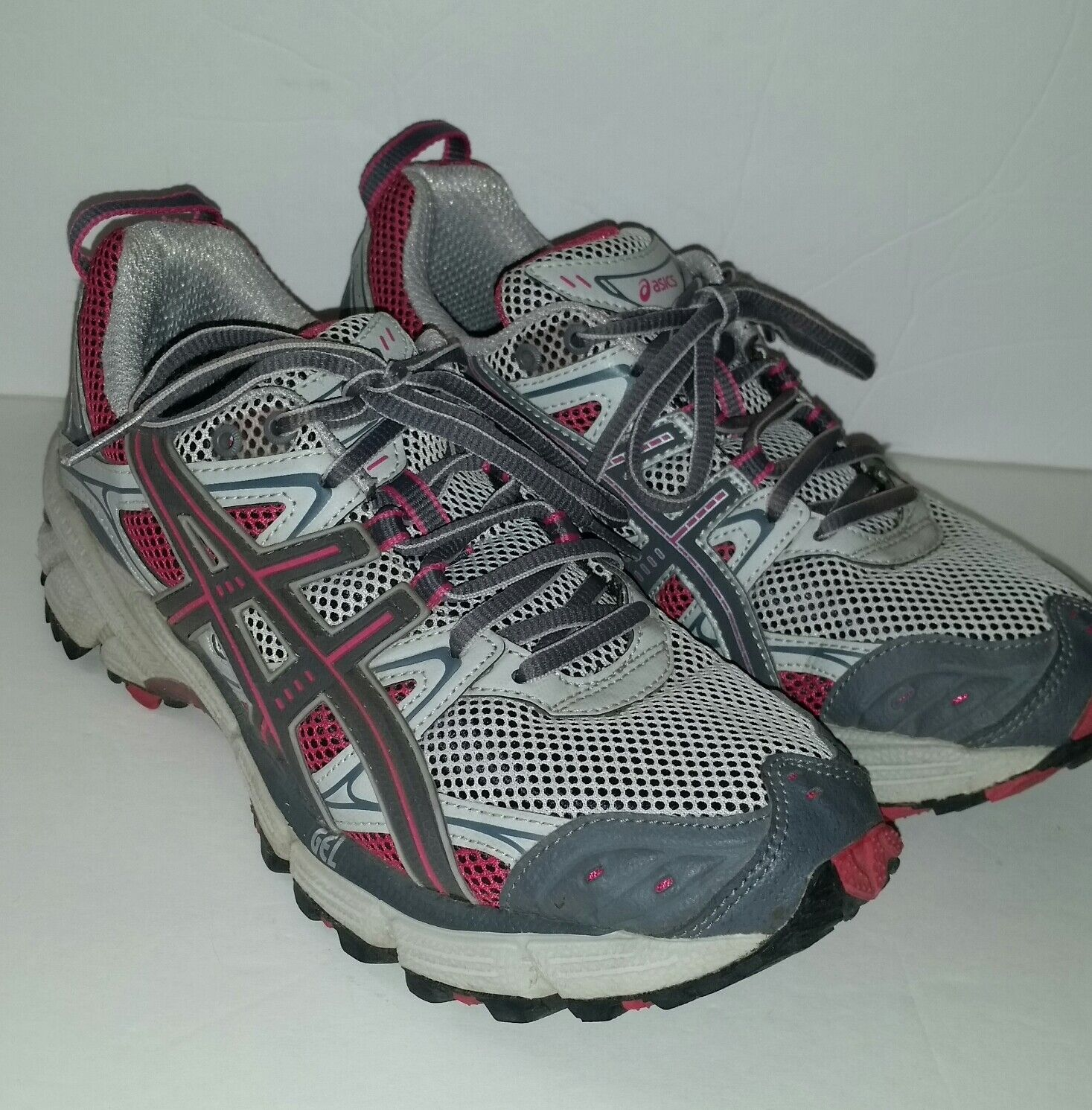Asics Gel Kahana Trail Running Shoes Women's 8 Trainers Grey Pink Hiking EUC Comfortable and good-looking