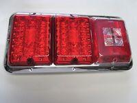 Bargman 84 85 Trailer Rv Triple Tail Light Red & Red Led Incndscnt Backup Chrome