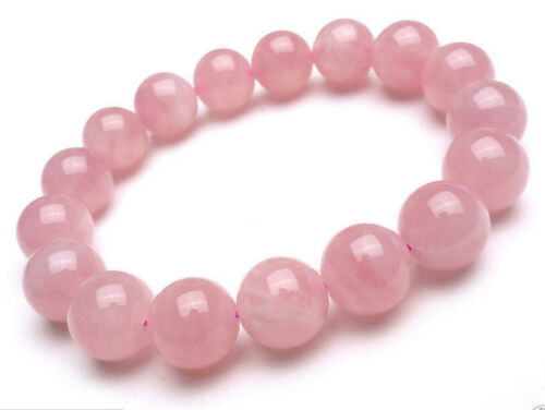 8mm Natural Madagascar Deep Pink Rose Quartz Crystal Round Beads Bracelet J166