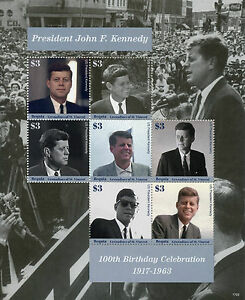 Bequia Gren of St Vincent 2017 MNH JFK John F Kennedy 100th 7v M/s II Stamps