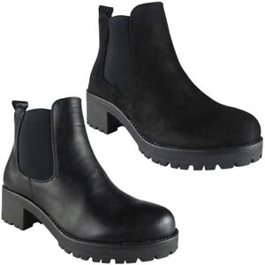 Womens-Chelsea-Boots-Ladies-Chunky-Mid-Heel-Platform-Zip-Work-Ankle-Shoes-Size