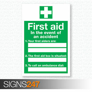 First-Aid-In-The-Event-Of-An-Accident-Signs-200mm-x-300mm-Self-Adhesive