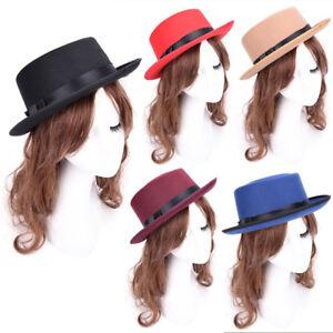 Women Vintage Boater Hat Sailor Wide Brim Fedora Felt Trilby Cap ... b59defbdb59