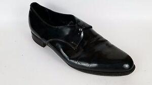 AUSTIN REED Mens 9.5 Med Oxford Formal Shoes Black Shiney Black Tie Cuban Dress