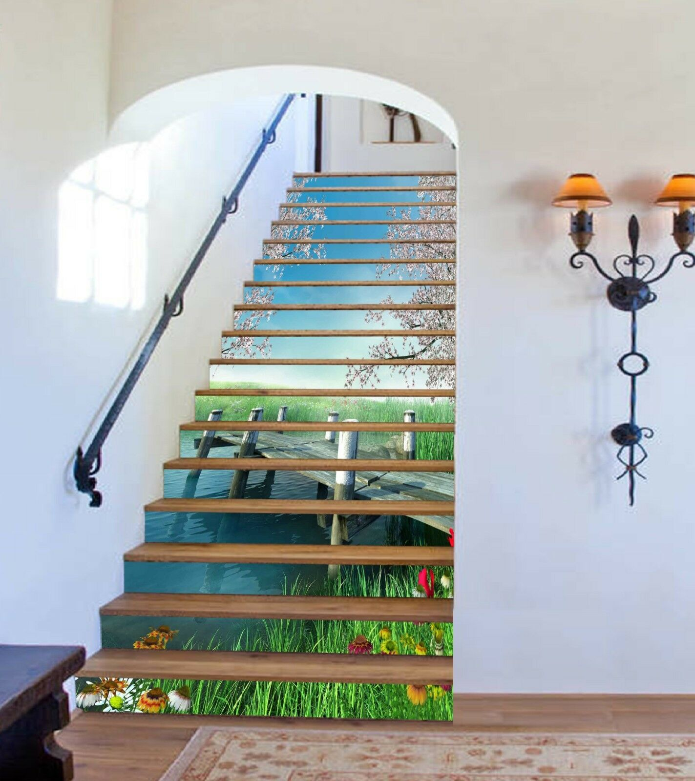 3D Bridge Lawn 5 Stair Risers Decoration Photo Mural Vinyl Decal Wallpaper CA