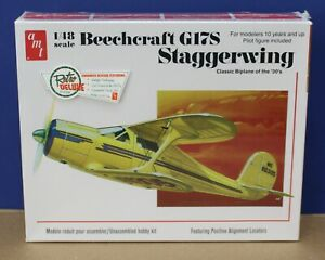 Round-2-AMT-886-12-Beechcraft-G17S-Staggerwing-Biplane-Kit-1-48-New-Sealed