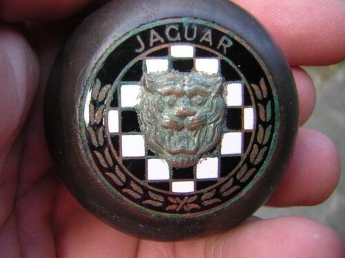 SCARCE OLD VINTAGE ENAMELED WOOD JAGUAR AUTOMOBILE CAR SHIFT KNOB