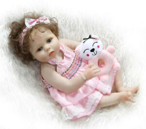 "23"" Lifelike Reborn Babies Girl Dolls Full Body Silicone Newborn Toy XMAS Gifts"