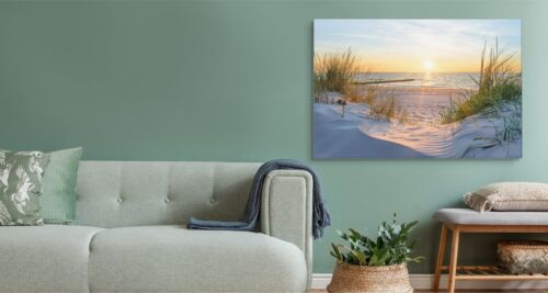 Leinwand Bild CANVAS WANDBILD Kunstdruck XXL Meer Strand Dünen Sonne Abend 769