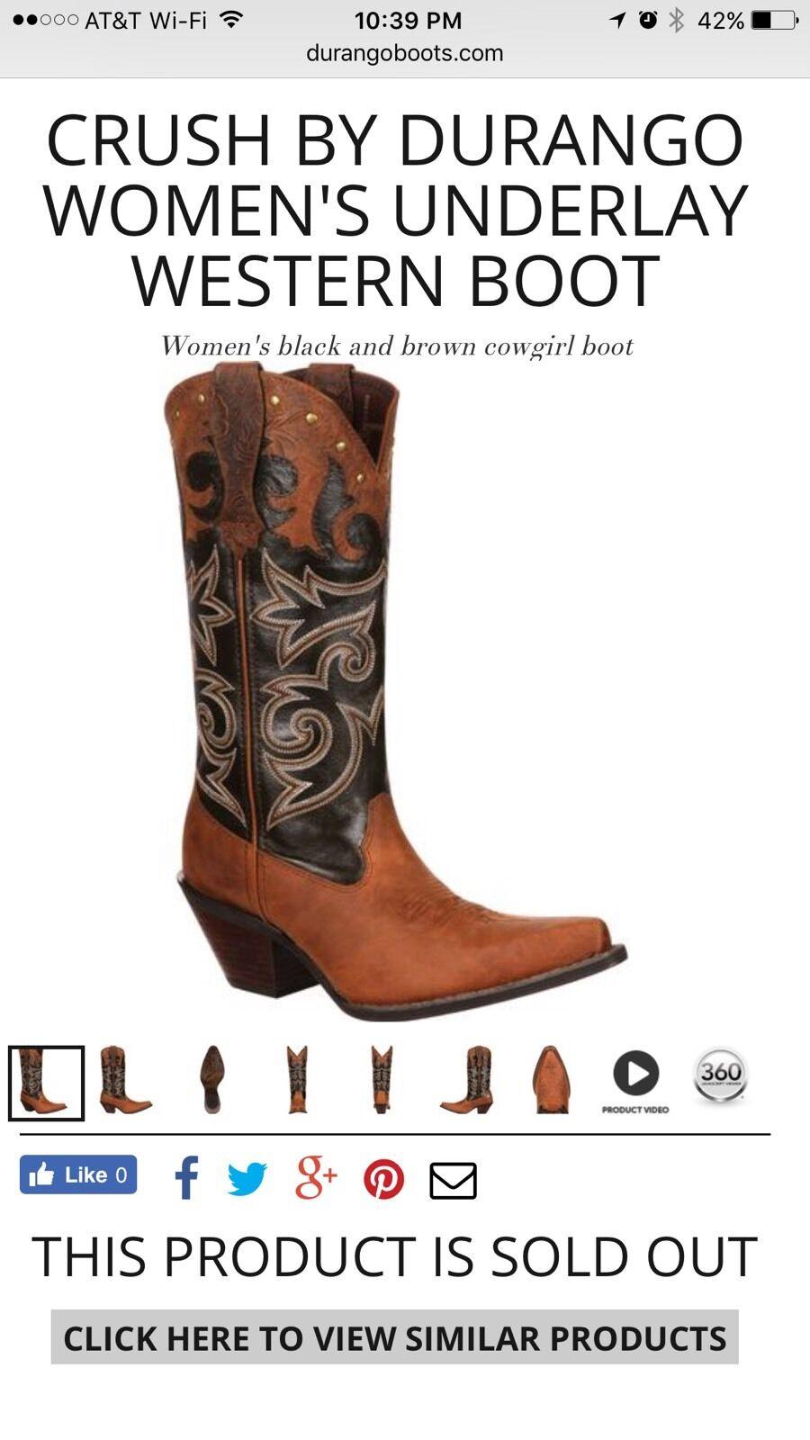 Durango Crush Cowgirl Western Boots DRD0066 Gypsy Underlay Women's 9 M