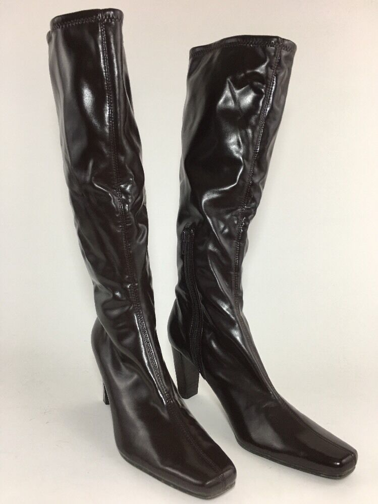 Womens Bandalino Size 7.5 M Brown Vegan Stretch Pull On Knee High Boots