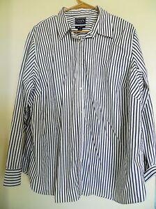 3a753157bb0 Chaps Women s White Black Striped Non iron Button Down Dress Shirt ...