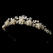 Gold Ivory Clear Rhinestone Pearl Floral Leaf Bridal Wedding Tiara Headband