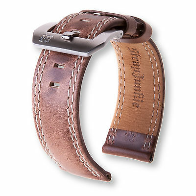 """Stone"" Brown Genuine Pull-Up Leather Double Stitch Watch Strap for Panerai 24mm"