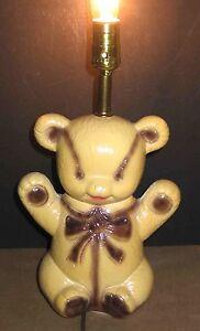 Chalkware-TEDDY-BEAR-Electric-Table-Lamp-Works-child-nursery-decor-vtg-FREE-SH