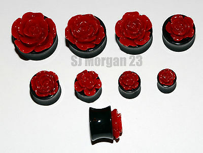 Red Rose Ear Ring Stretcher Plug in various sizes 8 10 12 14 16 18 20 22 mm