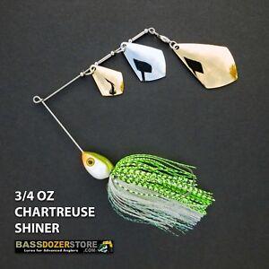 Bassdozer-spinnerbaits-TRIPLE-ROYAL-3-4-oz-CHARTREUSE-SHINER-spinner-bait-baits