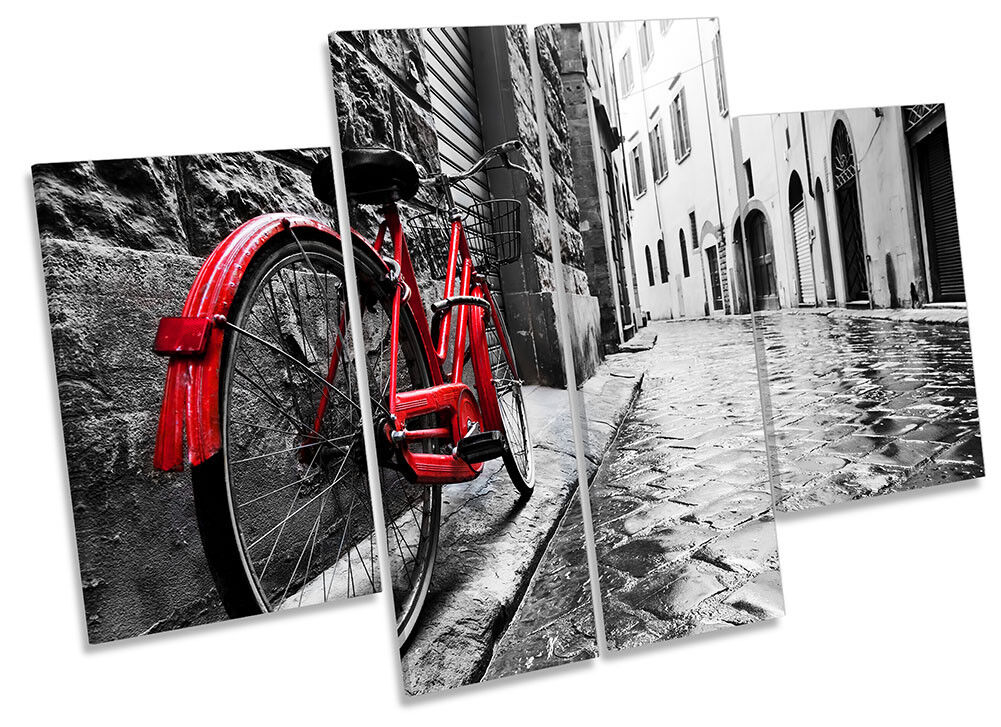 rot Retro Bicycle  Picture CANVAS WALL ART Four Panel