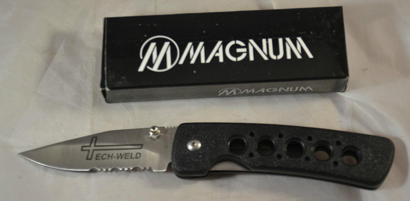 "Magnum MB106-Tech folding lockback pocket knife 3"" blade nylon handle"