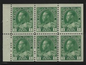 Canada-1911-1c-Green-George-V-Admiral-Booklet-Pane-6-Sc-104a-NH