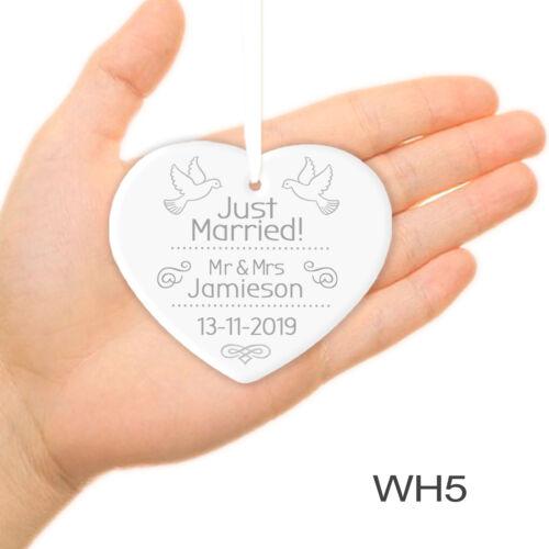 Par De Boda Regalo Personalizado recién casados Sr Colgante Corazón del ornamento /& sra