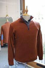 Caxton Half Zip Contrast Brown Piping Elbow Hem 100/% Wool Sky Blue Sweater