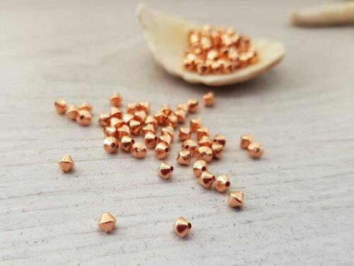 Cuentas de cobre sólido 3mmPaquete de 50cosidas Bi-Cono Espaciador granos