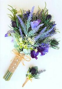 Spring-Flowers-Wedding-Bouquet-Silk-Purple-Lavender-Rustic-Boho-Bridal-Bouquet