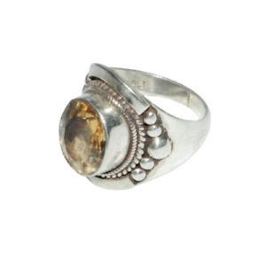 Sterling-Silber-ethno-asiatische-Vintage-Style-Lemon-Quartz-stone-Ring-Size-O-Geschenk
