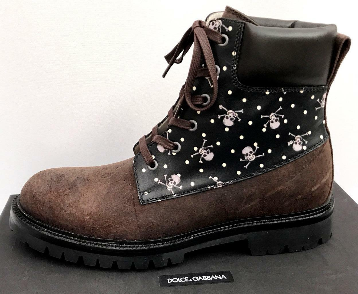 Dolce Gabbana Skull Leather Boots UK8 IT42 US9 RRP790GBP New Auth