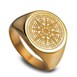 Gold-Plated-Stainless-Steel-Mysterious-Compass-Men-039-s-Craft-Ring-M23