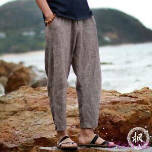 Men's Trousers Cropped Summer Loose Retro Linen Harem Pants Casual Beach Long qv55TFzW