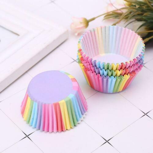 100 pcs Colorful Rainbow Paper Cake Cupcake Liners Baking Muffin Cup Case Party