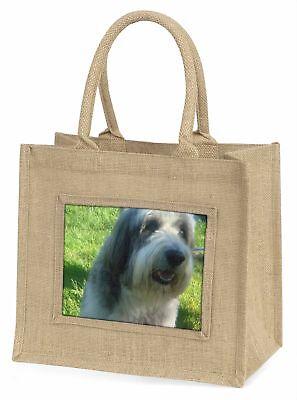 Bärtiger Collie Hund große natürliche jute-einkaufstasche Weihnachtsgeschenk