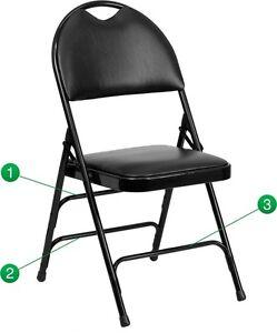 Metal Folding Chair Black Vinyl Triple Braced and Easy-Carry Handle - Heavy Duty