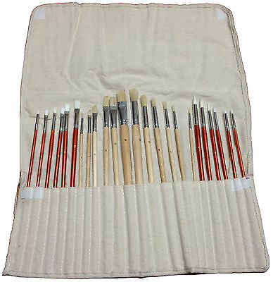24 Paint BRUSH SET for Oil Acrylic Art Craft Artist Painting w/ Canvas Roll Up