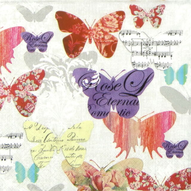 "4x Single Table Paper Napkins for Party, Decoupage, Craft ""Romantic Butterflies"