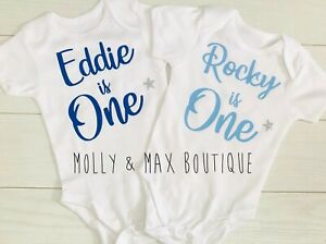 Personalised Baby Boys Girls First 1st Birthday Outfit Vest T-Shirt Cake Smash