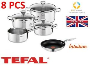 NEW-TEFAL-DUETTO-STAINLESS-STEEL-COOKWARE-SET-8-PCS-LID-POTS-24-cm-INTUITION-PAN