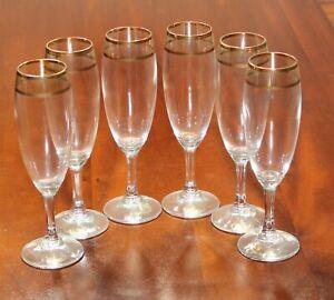 Set-of-6-J-Preziosi-Lavorato-A-Mano-Gold-Red-Trim-Champagne-Flutes-Glasses-Italy