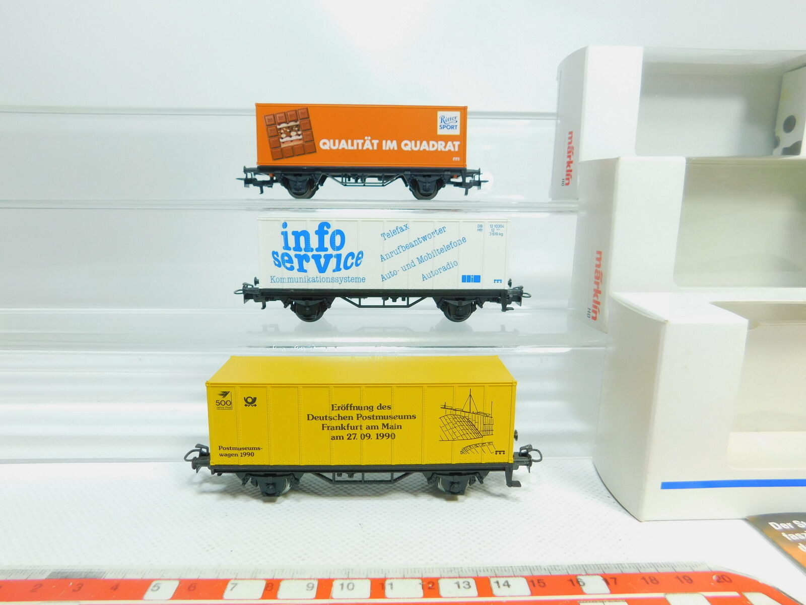 Bl477-0, 5  3x marklin h0 ac autoro container  94292 cavalieri + Museo postale etc Neuw + OVP