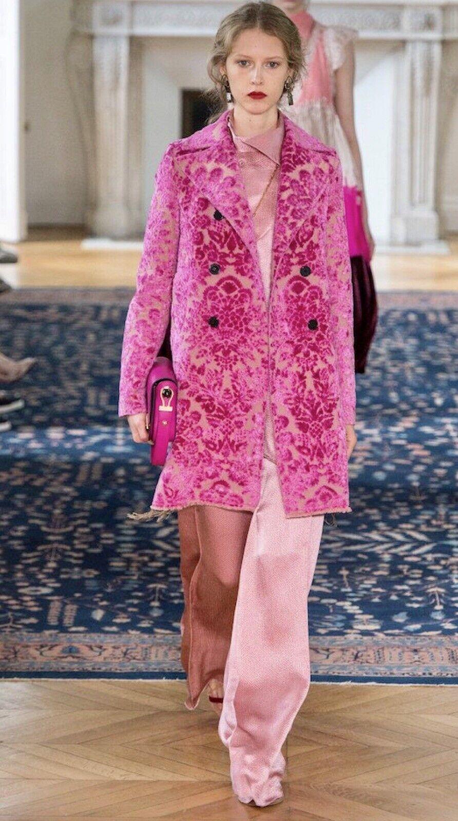 VALENTINO Runway Pink Mauve Silk Wide Leg Pants