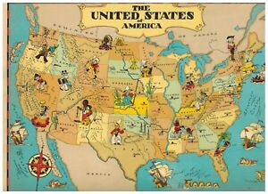 Details about Vintage 1938 Our USA A Geography Cartoon Pictorial Map on distressed usa map, apple usa map, desert usa map, white usa map, colorless usa map, hand drawn usa map, color usa map, navy usa map, camouflage usa map, sapphire usa map, wooden usa map, phoenix usa map, whatever usa map, oceans usa map, black usa map, framed usa map, rainbow usa map, rust usa map, burgundy usa map, small usa map,